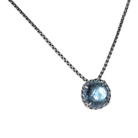 David Yurman 925 Sterling Silver with Blue Topaz Chatelaine Necklace