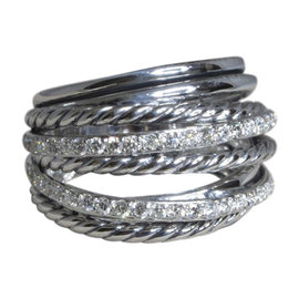David Yurman Crossover 925 Sterling Silver with Diamond Cable Ring Size 7