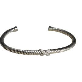 David Yurman 925 Sterling Silver with Diamond Cuff Bracelet