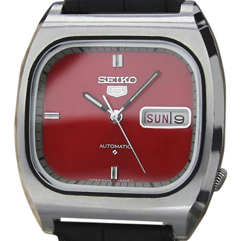 """Image of """"Seiko 5 6309 512A Stainless Steel & Leather Automatic Vintage 35mm"""""""
