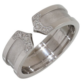 Cartier Double C Motif 18K White Gold with Diamond Ring Size 8.25