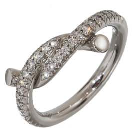 Cartier Entrelaces 18K White Gold with Diamond Ring Size 4.25