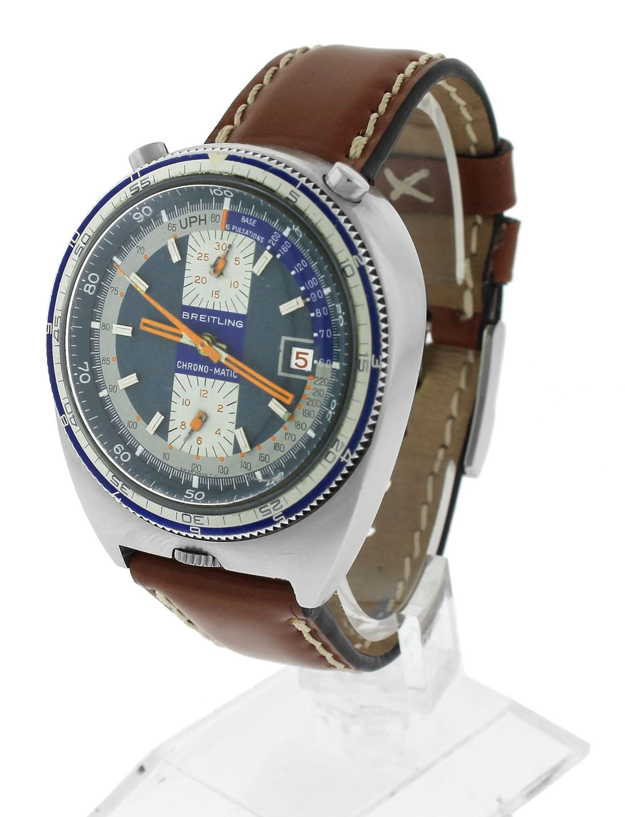 "Image of ""Breitling Chrono-Matic 2117 Stainless Steel & Leather Blue Dial"""