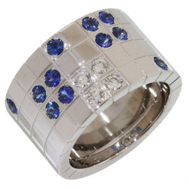 Cartier 18K White Gold Diamond & Sapphire Paillette Ring Size 6.25