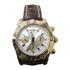 Breitling Chronomat 44 HB0110 18K Rose Gold & Leather 44mm Mens Watch