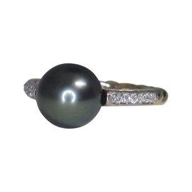 David Yurman 18K Yellow Gold with Diamond & Black Pearl Cable Ring Size 6