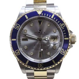 Rolex Submariner 16613 18K Yellow Gold & Stainless Steel Silver Diamond Dial 40mm Mens Watch