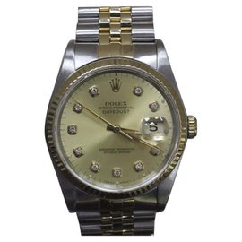 Rolex Datejust 16233 18K Yellow Gold & Stainless Steel Champagne Diamond Dial 36mm Mens Watch