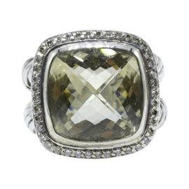 David Yurman Albion 925 Sterling Silver with Prasiolite & Diamond Ring Size 6