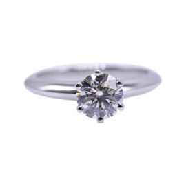 Tiffany & Co. 950 Platinum with 1.02ct Round Diamond Solitaire Engagement Ring Size 6