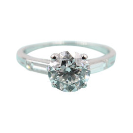 Tiffany & Co. Palladium with Old Cut 1.55ct Diamond Solitaire Engagement Vintage Ring Size 5.25