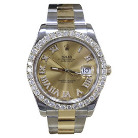 Rolex Datejust II 116333 18K Yellow Gold & Stainless Steel wDiamonds Automatic 41mm Mens Watch