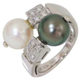 Bulgari Bvlgari Lucia 18K White Gold with Pearl & Diamonds Ring Size 4.75