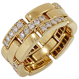 Cartier Mailon Panthere 18K Yellow Gold Diamonds Ring Size 6.25