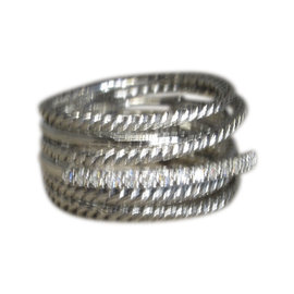 David Yurman Sterling Silver Wide Crossover Diamond Cable Ring Size 8