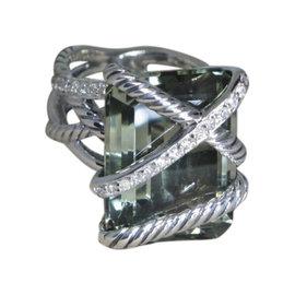 David Yurman Sterling Silver Wrap Prasiolite and Diamond Ring Size 6