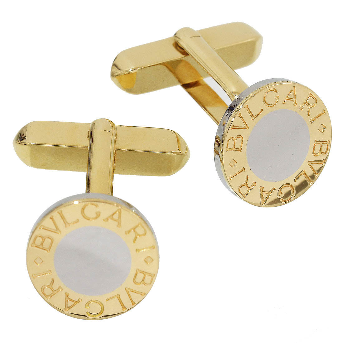 "Image of ""Bulgari 18K Yellow Gold / Stainless Steel Cufflinks"""