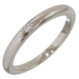 Bulgari Pt950 Platinum with 1P Diamond Band Ring Size 4.25