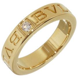 Bulgari 18K Yellow Gold with 1P Diamond Double Logo Ring Size 4.25
