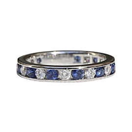 Tiffany & Co. Platinum Diamonds Sapphires Band Size 4