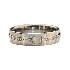 Tiffany & Co. 18K White Gold 0.14ct Diamond Two Ring Size 9.0