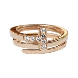 Tiffany & Co. 18K Rose Gold 0.10ct. Diamonds T Wrap Ring Size 5