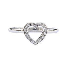 Tiffany & Co. Platinum 0.11ct. Diamond Open Heart Ring Size 6.75