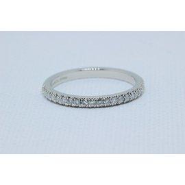 Tiffany & Co. 950 Platinum with Half Circle Soleste 0.17ct Diamond Band Ring Size 5.75