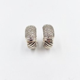 David Yurman 18K White Gold & 925 Sterling Silver with 1ct Pave Diamond Classic Cable Huggie Earrings