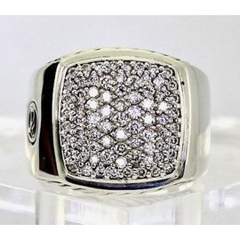 David Yurman 925 Sterling Silver with 1.62ct Diamond Pave Signet Ring Ring Size 10