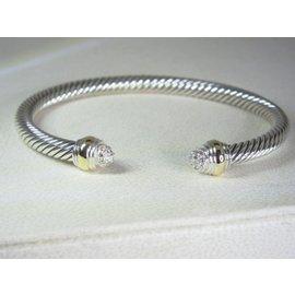 David Yurman 14K Yellow Gold and 925 Sterling Silver with Diamond Cuff Bracelet
