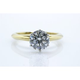 Tiffany & Co. 18K Yellow Gold with 1.52ct Round Brilliant Diamond Solitaire Engagement Ring Size 6