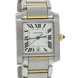 Cartier Tank Francaise 2302 18K Yellow Gold and Stainless Steel Roman Date 28mm Unisex Watch