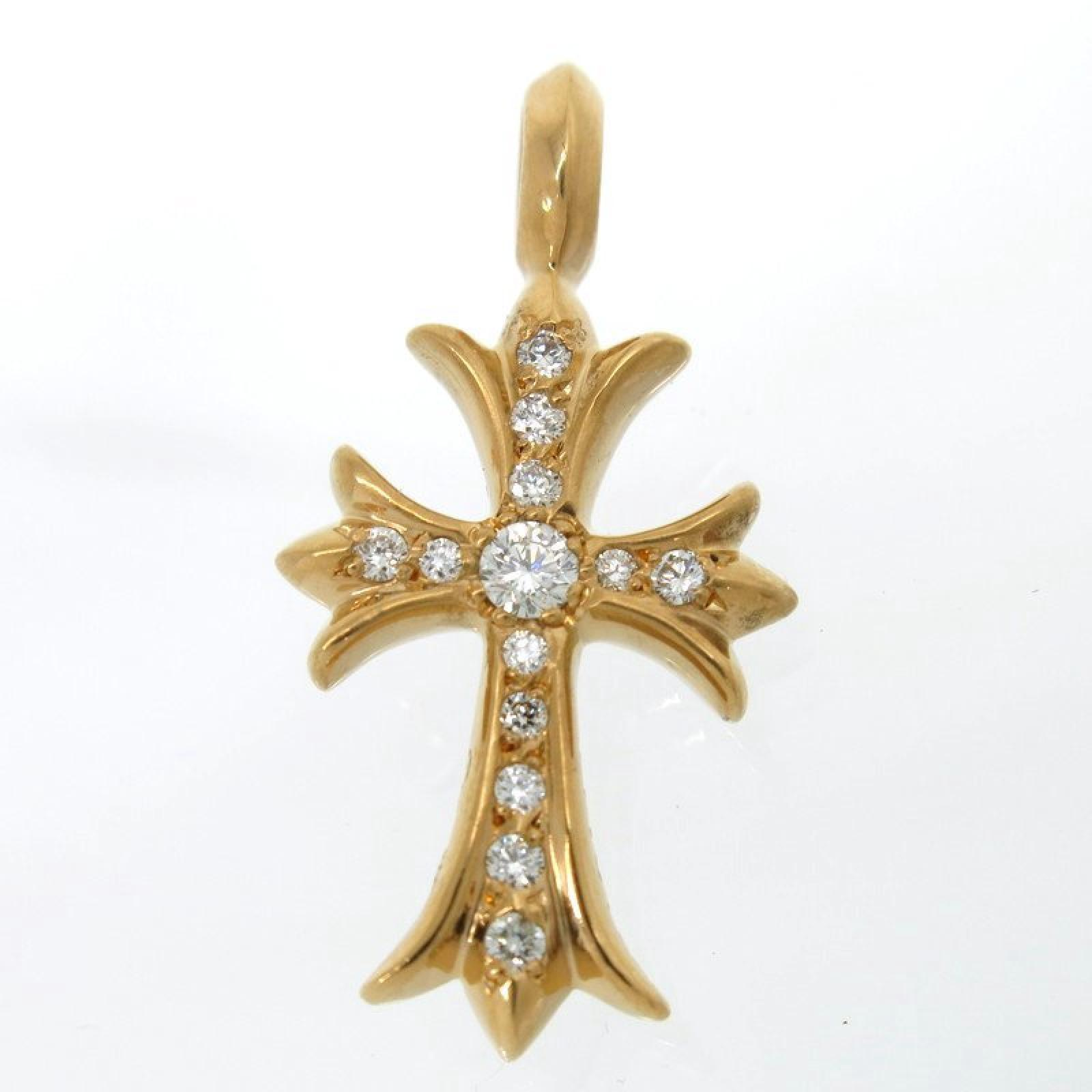 "Image of ""Chrome Hearts 22K Yellow Gold CH Cross Pave Diamond Top Charm Pendant"""