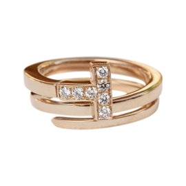 Tiffany & Co. 18K Rose Gold with 0.10ct Diamonds T Wrap Ring Size 5