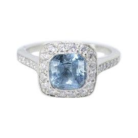 Tiffany & Co. Legacy Platinum 1.15ct Aquamarine Diamond Ring Size 4.75