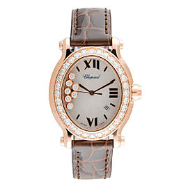 Chopard Happy Sport Oval 18K Rose Gold Quartz 30mm Womens Watch
