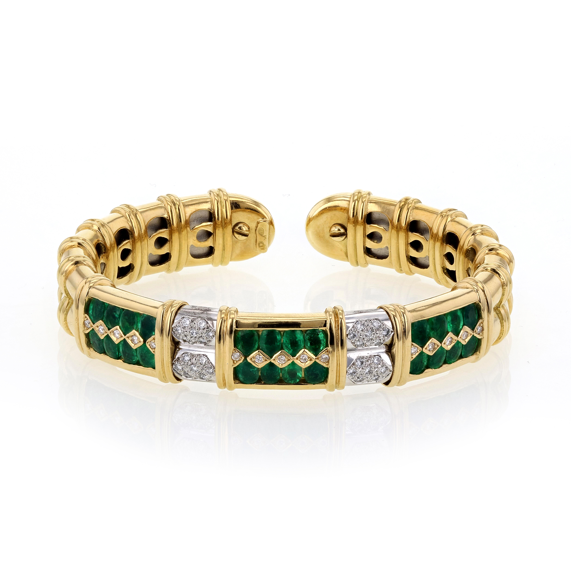 "Image of ""Sabbadini Gioielli 18K Yellow Gold with Emerald and Diamond Cuff"""