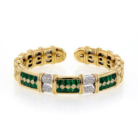 Sabbadini Gioielli 18K Yellow Gold with Emerald and Diamond Cuff Bangle Bracelet