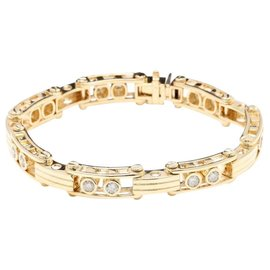 14K Yellow Gold and 3.35ct Round Cut Diamonds Bracelet