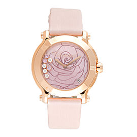 Chopard Happy Sport La Vie En Rose Diamond 18K Rose Gold 36mm Womens Watch