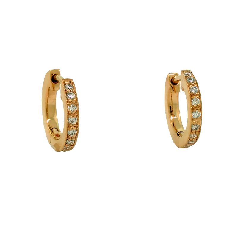 """Image of """"Penny Preville 18K Rose Gold & Diamond Huggie Earrings"""""""