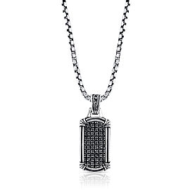 Scott Kay 925 Sterling Silver with Black Sapphire Dog Tag Necklace