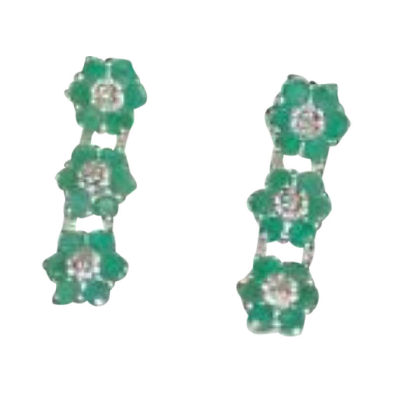 "Image of ""Sterling Silver, Emerald & Diamond Earrings"""