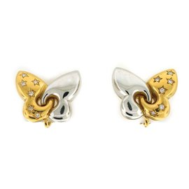 Bvlgari two Tone Gold Butterfly Earrings