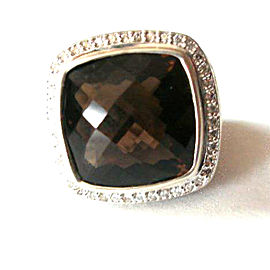 David Yurman Sterling Silver Albion Diamond & Smoky Quartz Ring