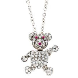 Pomellato 18K White Gold & Diamond Teddy Bear Pendant Necklace
