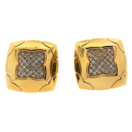 Bulgari 18K Yellow Gold & Diamond Pyramid Earrings Circa 1990