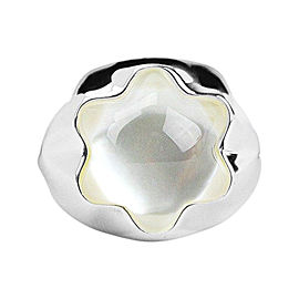 Montblanc Sterling Silver Pearl Quartz Star Grande Dame Ring Sz 6