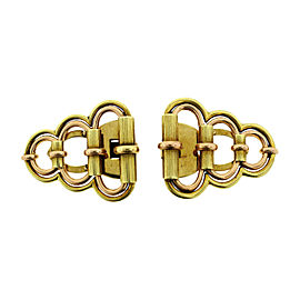 Vintage Cartier Two Tone Gold Double Clip Set